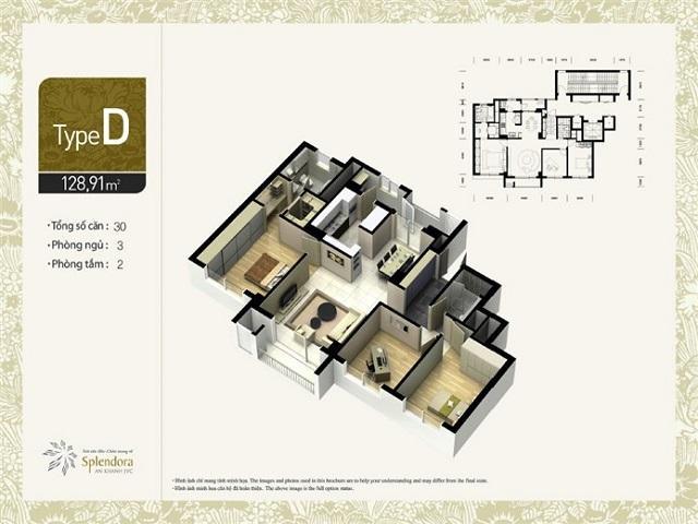 Mặt bằng thiết kế căn hộ chung cư tại dự án Splendora